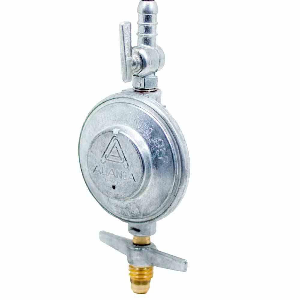 Registro / Regulador de Gás 504/01 1Kg/h Blindado Aliança para Botijão Saída 3/8 p/Mangueira