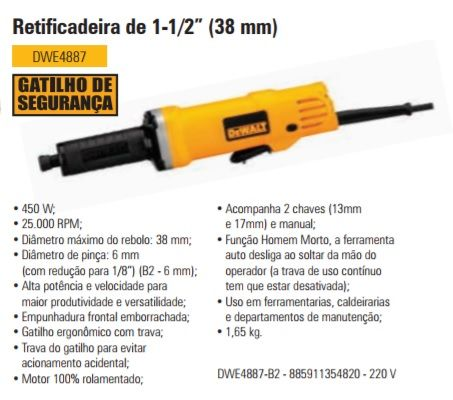 Retificadeira 1.1/2 38MM DWE4887 Dewalt
