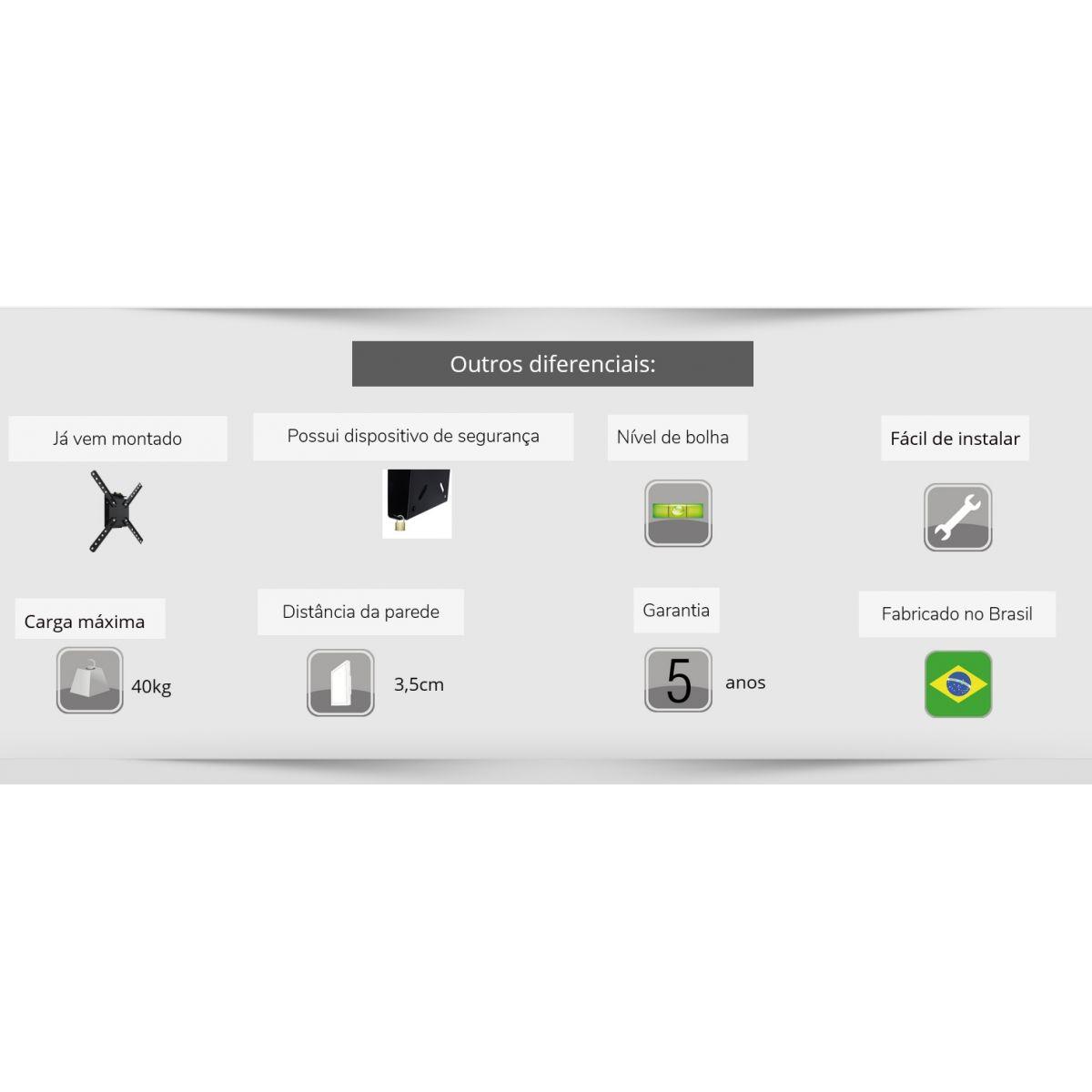 Suporte Tv Lcd 10 a 55 polegadas Brasforma SBRP110