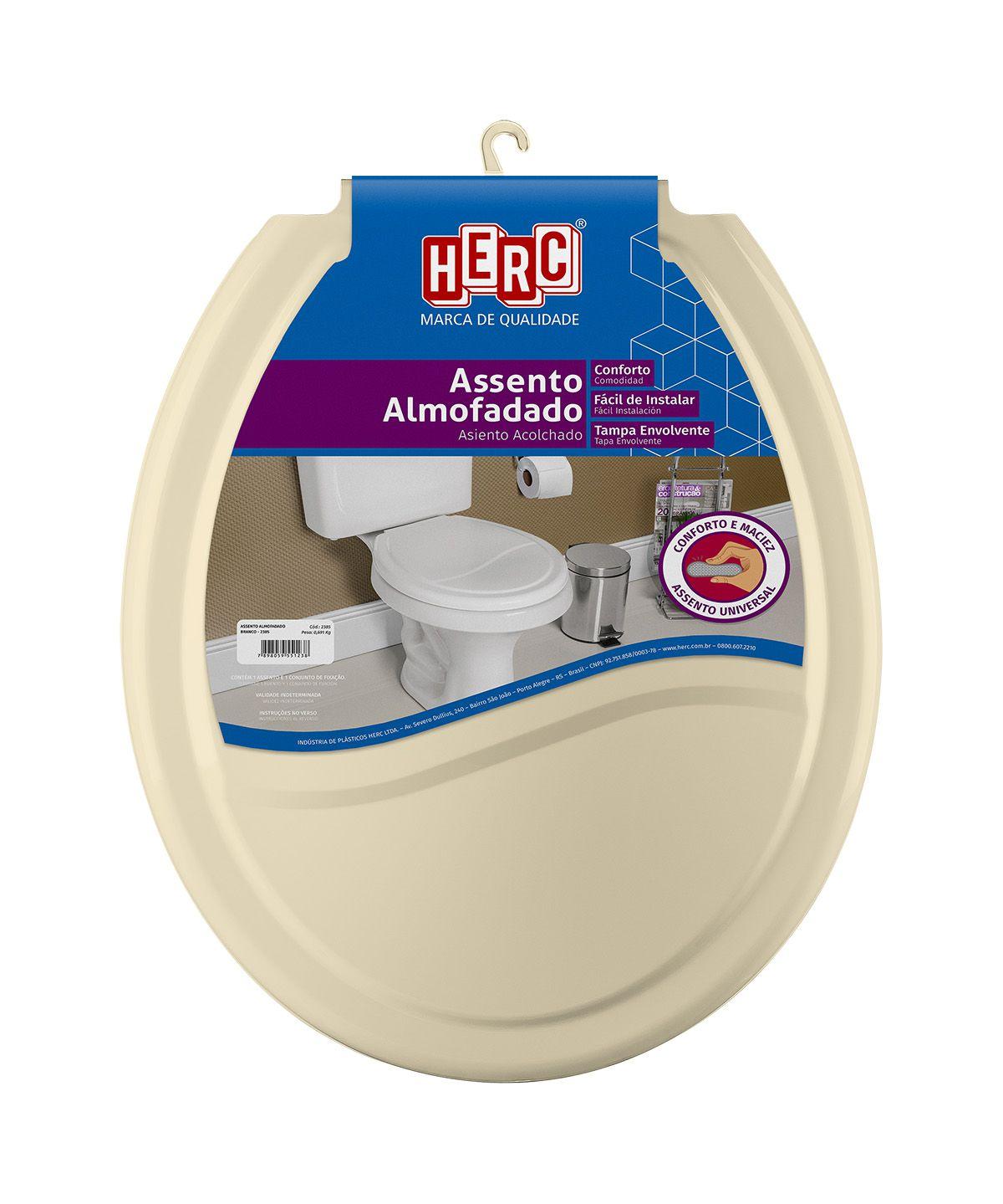 Tampa de Vaso / Assento Sanitário Bege Almofadado 2388 Herc