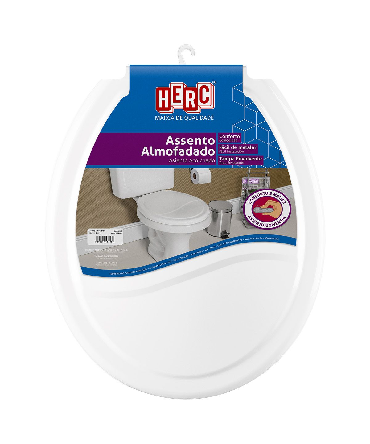 Tampa de Vaso / Assento Sanitário Branco Almofadado 2385 Herc