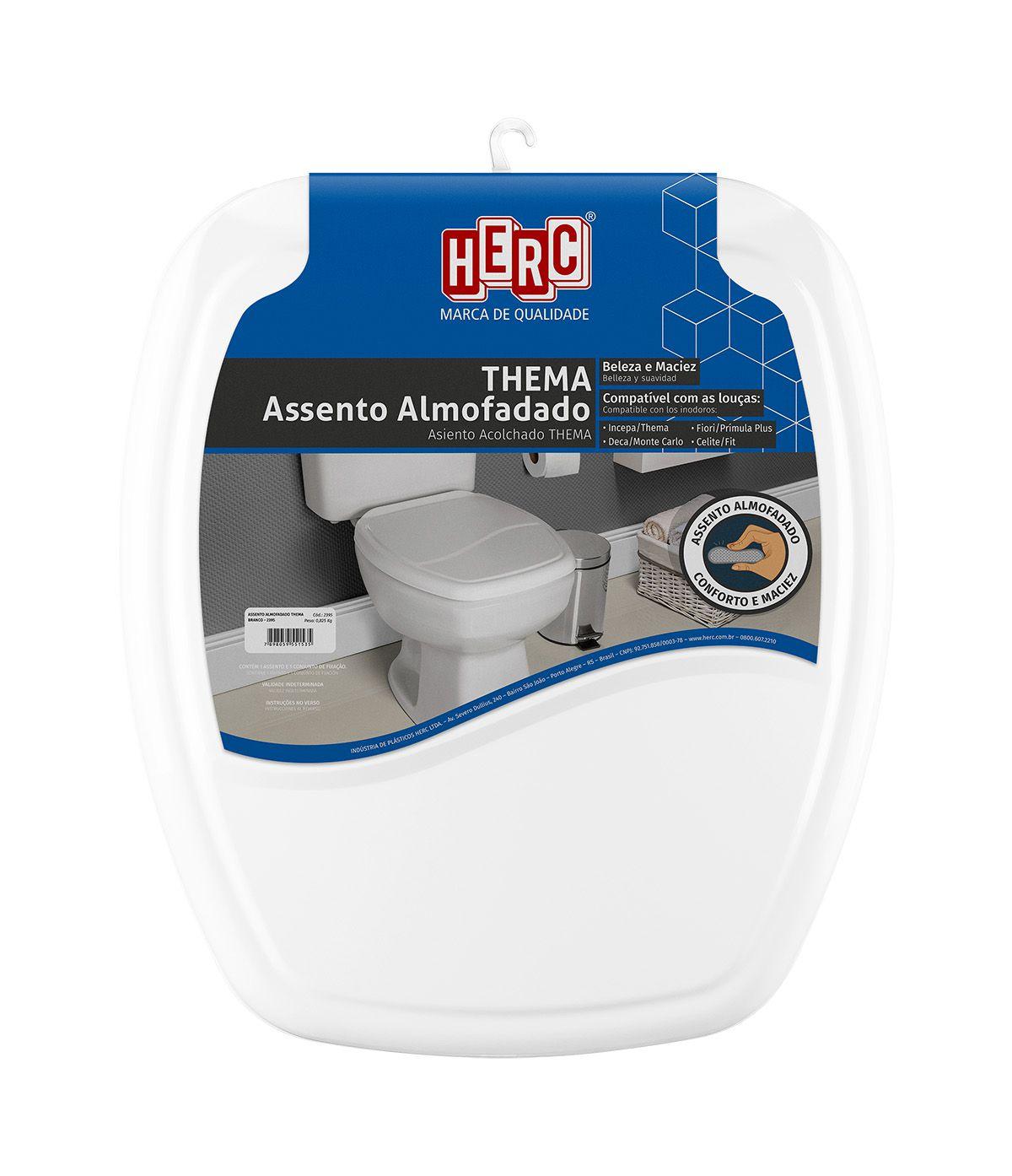 Tampa de Vaso / Assento Sanitário Branco Almofadado Thema 2395 Herc