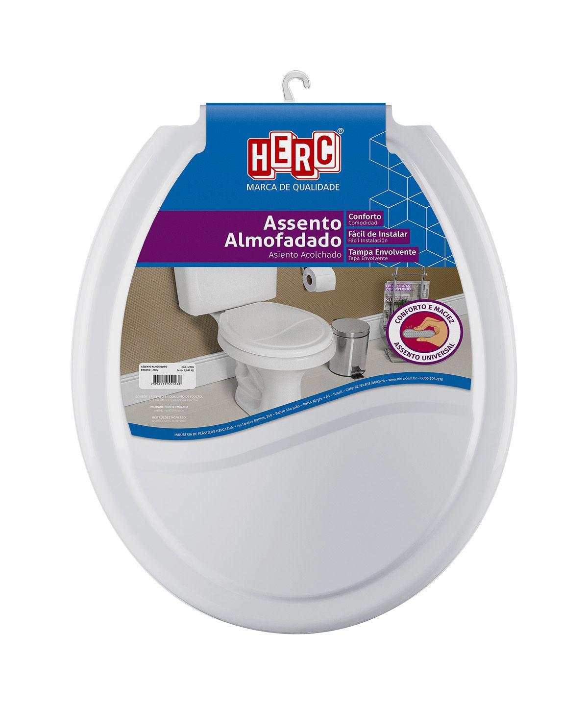 Tampa de Vaso / Assento Sanitário Cinza Claro Almofadado 2386 Herc
