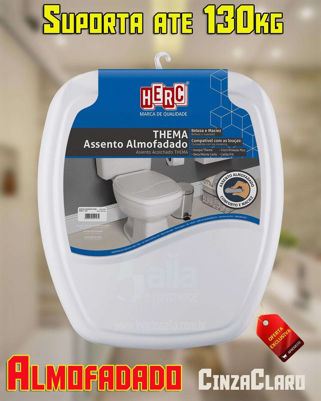 Tampa de Vaso / Assento Sanitário Cinza-Claro Almofadado Thema 2396 Herc