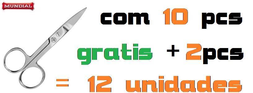 Tesoura Inox Cortador p/Unha Mundial Com 12 unidades Blister Original