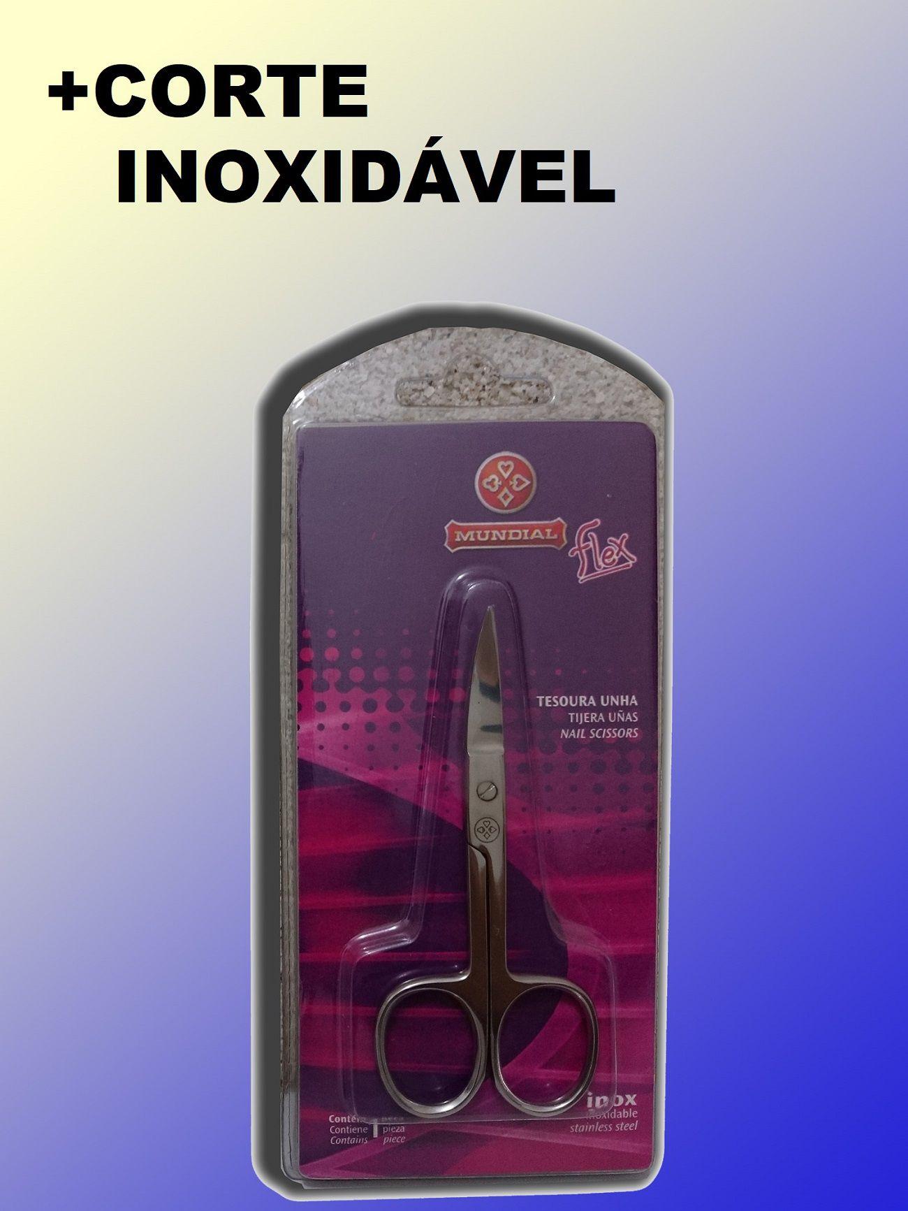 Tesoura / Tesourinha Inox Curvada Para Cortar Unha / Borracha Mundial Com Blister Original