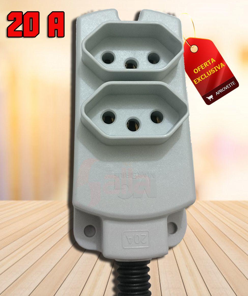 Tomada Multipla Externa Dupla 2P+T 20 Amperes Cor Cinza Margirius Tmu2-320