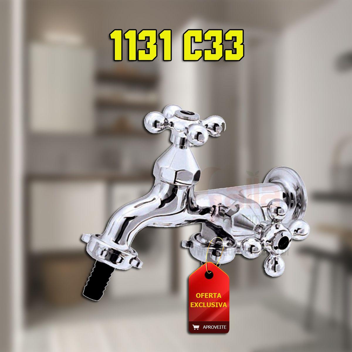 Torneira de Parede Fixa Cromada para Tanque com Saída p/ Máquina de Lavar 1131 C33 Forusi