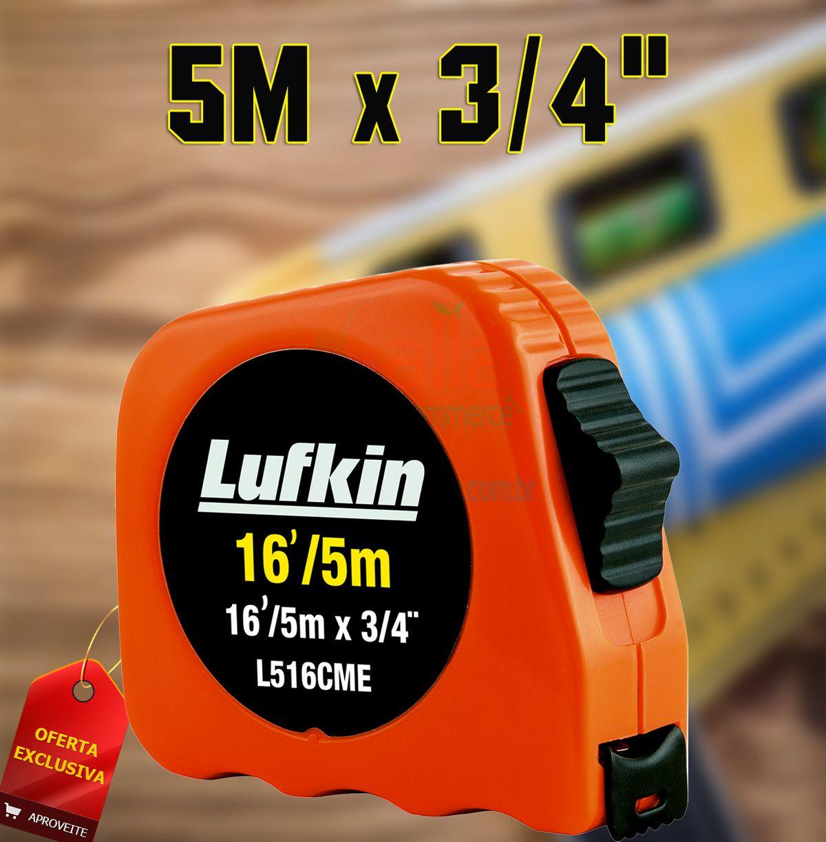 Trena Métrica de Bolso / Fita Verniz em Aço de 5 Metros 16´/5m L516cme Lufkin