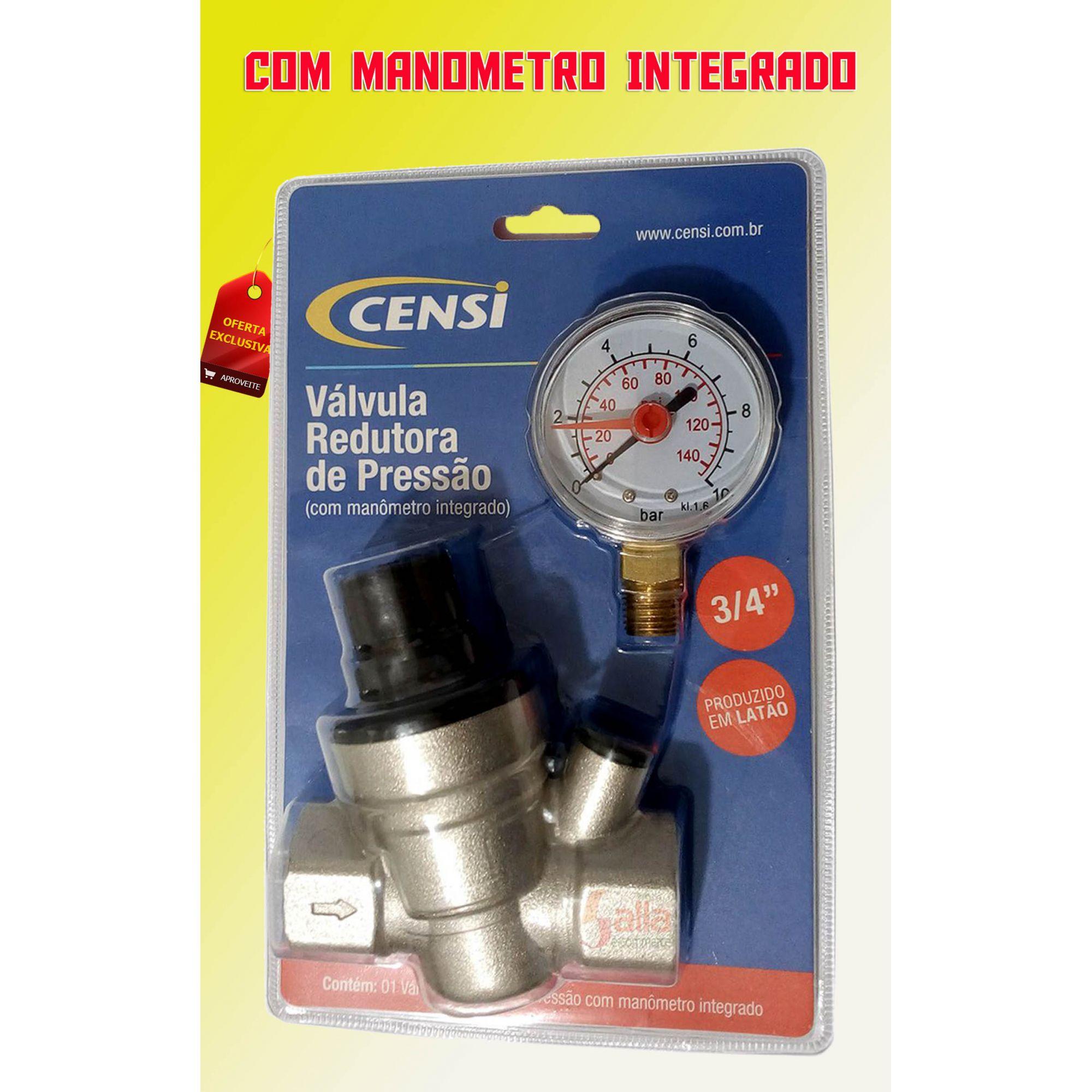 Válvula Redutora de Pressão 3/4 com Manômetro Censi