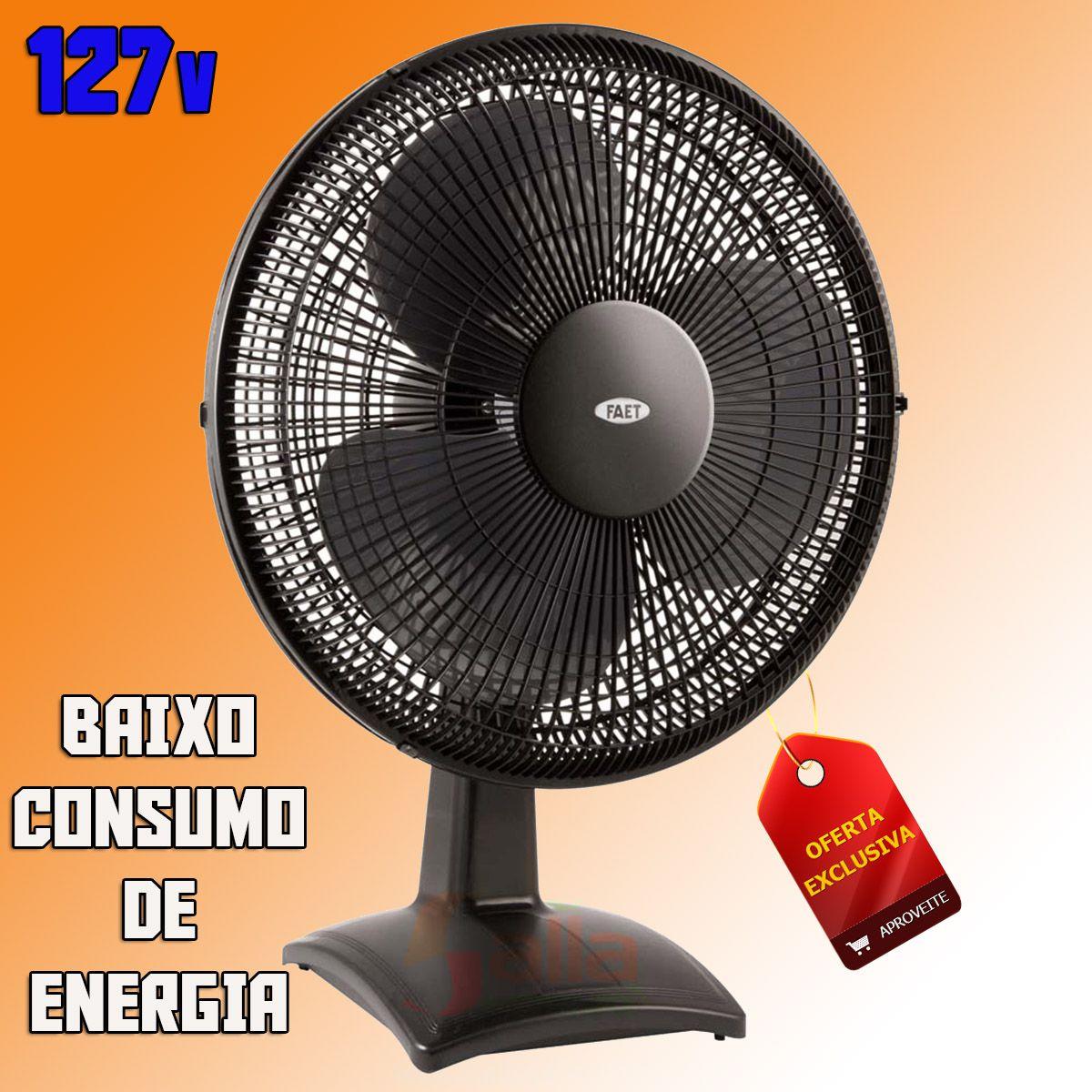 Ventilador de Mesa 40cm 3 Velocidades Oscilante Super Eurus Black 127v Faet Silencioso