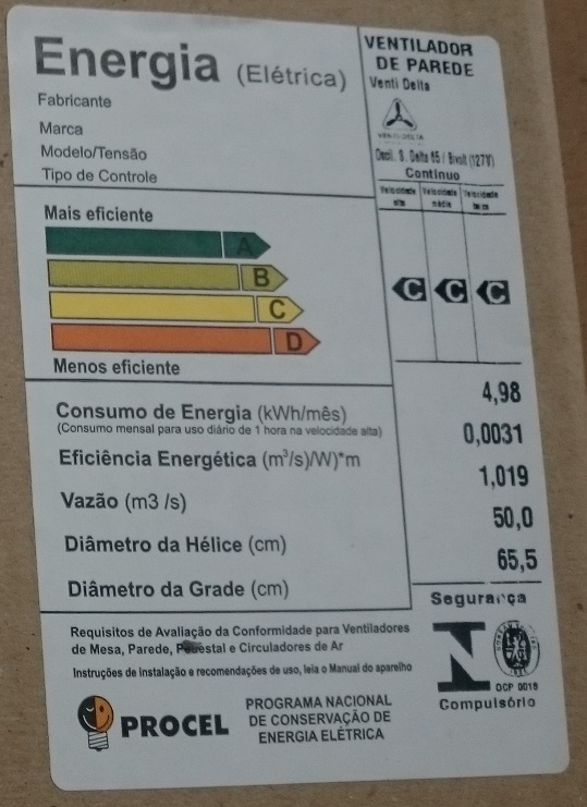 Ventilador De Parede Super-Delta New Premium 65 Cm Bivolt em aço 160 fios