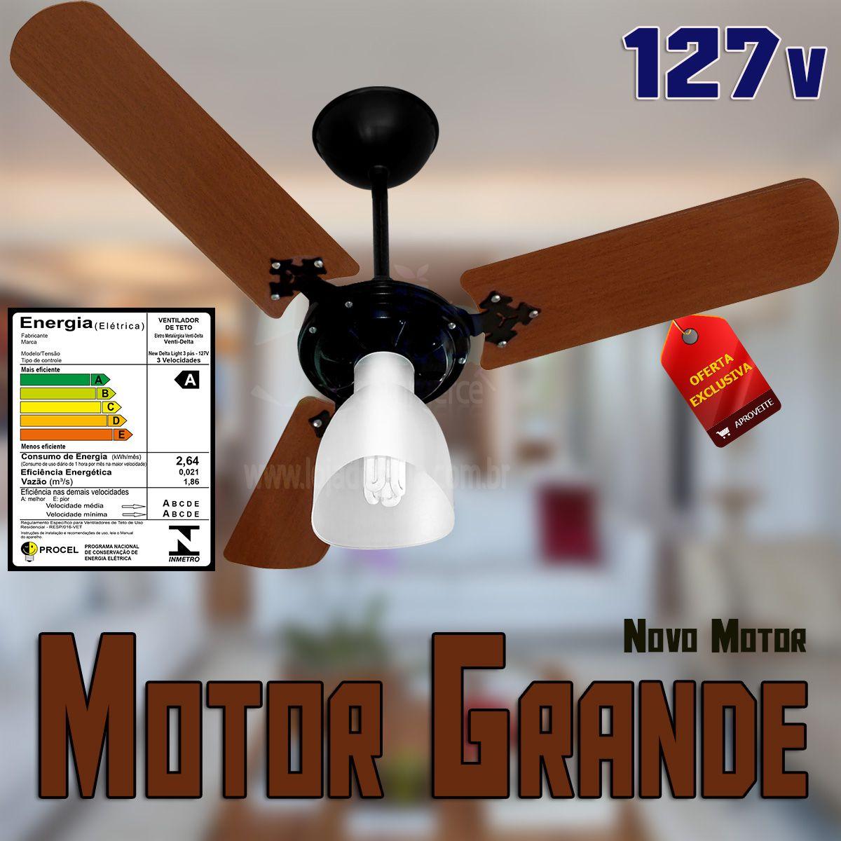 Ventilador De Teto Delta Light Novo Motor Grande Preto com Pás Marrom 127v c/Globo 3 Velocidades