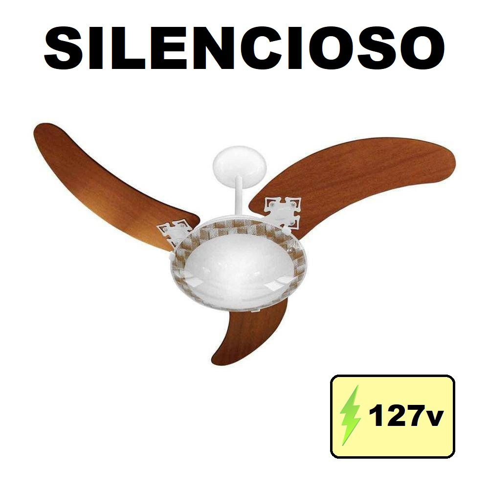 Ventilador de Teto Delta Ventus 3 Pás Marrom Linha Elegance 127v Branco Venti Delta