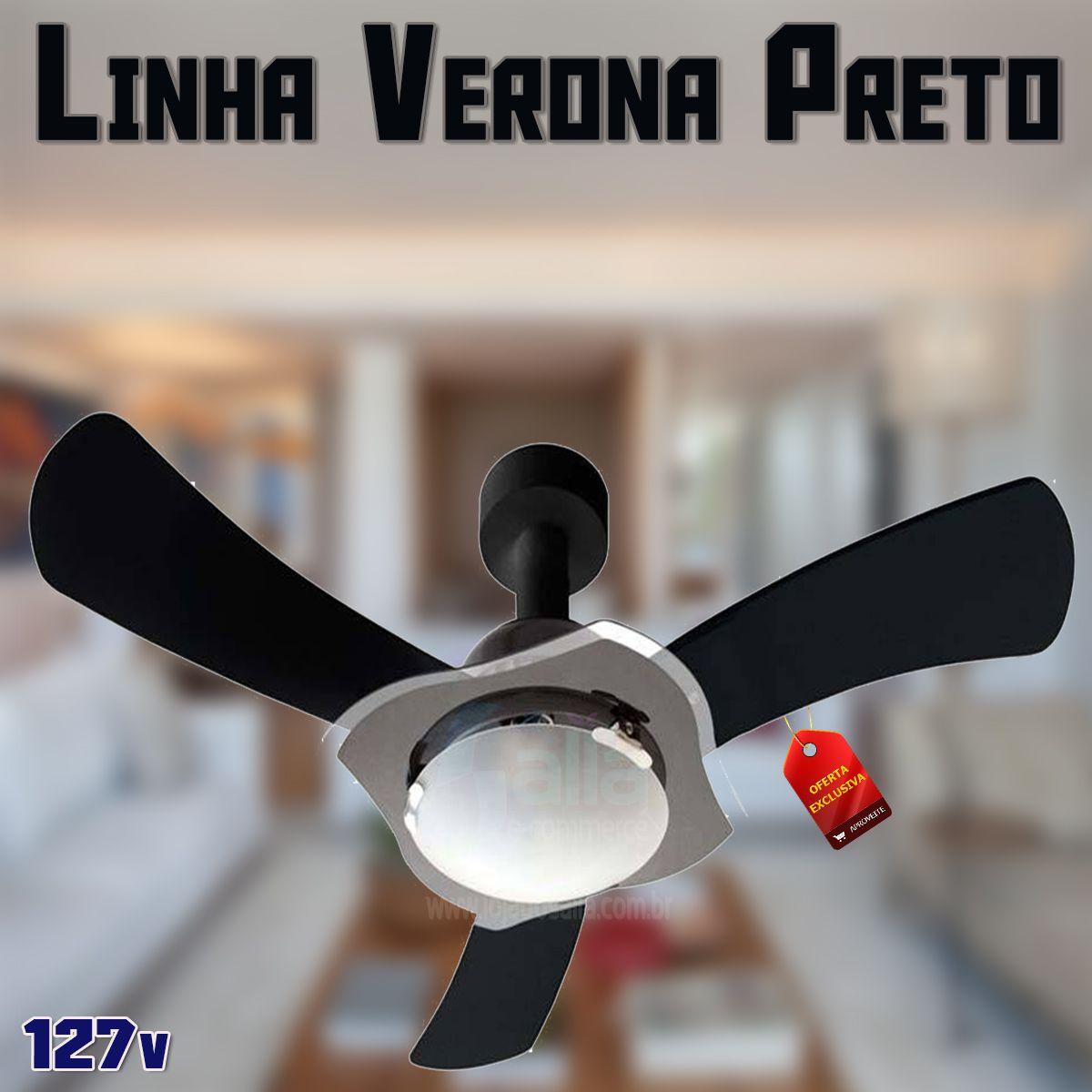 Ventilador de Teto Delta Verona Preto com 3 Pás Laqueadas 127v