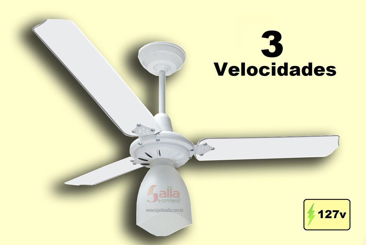Ventilador De Teto New Delta Light Branco e Pás Branca 127v com 3 Velocidades