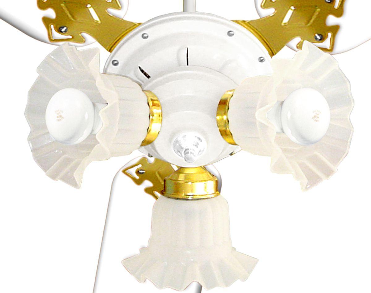 Ventilador de Teto New Zeta 3 Pás Branca/Dourado e Motor Branco 127v c/ 3 Globos Venti Delta