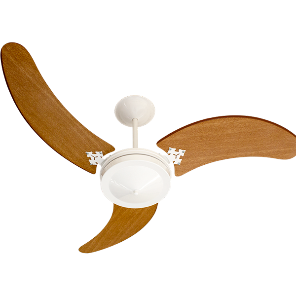 Ventilador de Teto Pamplona Branco 3 Pás MDF Marrom 127v Venti Delta