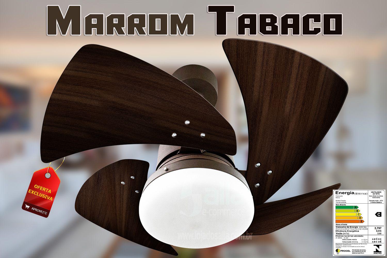 Ventilador de Teto Tornado Led Motor Marrom 4 Pás Tabaco 127v Venti Delta