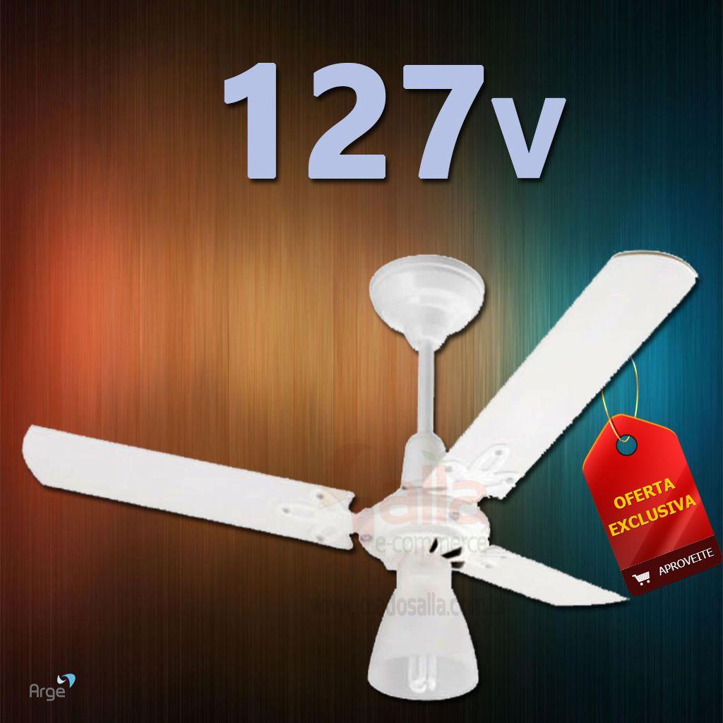 Ventilador De Teto Ventus 3 Pas Brancas Motor Branco 127v Arge