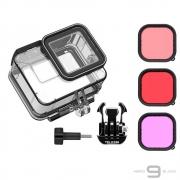 Caixa Estanque + Kit Filtros Telesin para GoPro Hero 9 e 10 Black