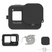 Capa em Silicone Preto + Cordão Telesin GoPro Hero 9
