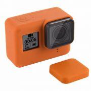 Capa e tampa silicone direto câmera GoPro 5-7 - laranja