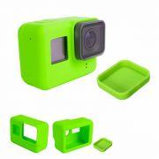 Capa e tampa silicone direto câmera GoPro 5-7 - verde