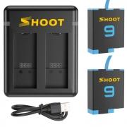 Carregador duplo + 2 baterias GoPro Hero 9 e 10 Black
