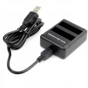 Carregador duplo de Bateria para Câmera GoPro Hero 4 black Silver