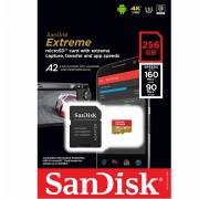 Cartão Memória SanDisk Extreme A2 MicroSDXC 256gb 160M-90M