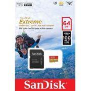 Cartão Microsd 64gb Sandisk Extreme + Adaptador GoPro 2-7