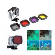 Kit 4 Filtros Mergulho Filter Gopro - Hero 3/3+/4