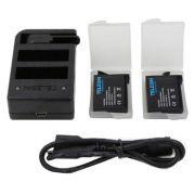 Kit Carregador Triplo + 2 baterias GoPro Hero 5/6/7 Telesin