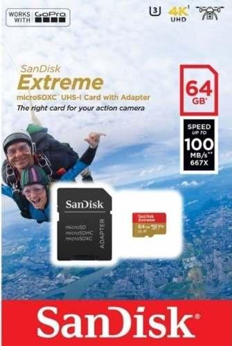 Cartão Microsd 64gb Sandisk Extreme + Adaptador Gopro 23456