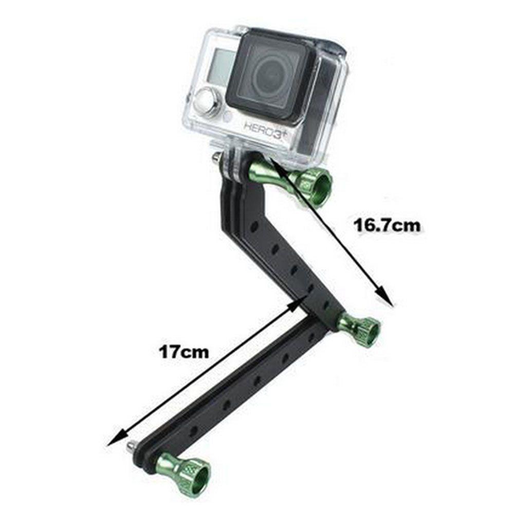 Extensor Braço em alumínio para Câmeras de Ação GoPro Hero SJCam Xiaomi - Verde