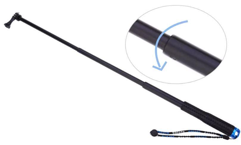 Bastao Aluminio Retratil Monopod Portatil 25-90cm Gopro 1-6 Azul