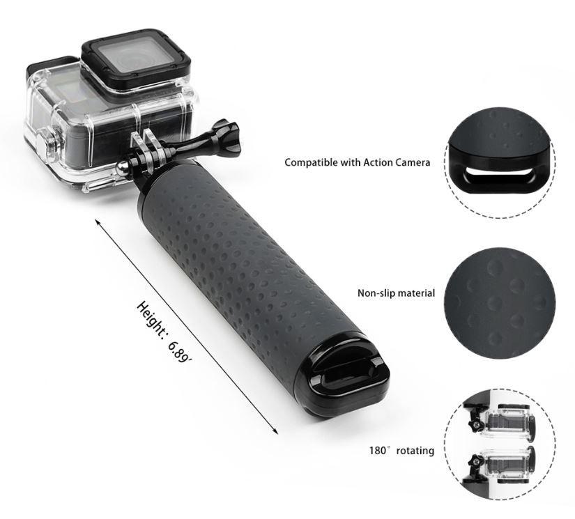 Bastão Flutuante para GoPro SjCam Xiaomi 18cm - Preto
