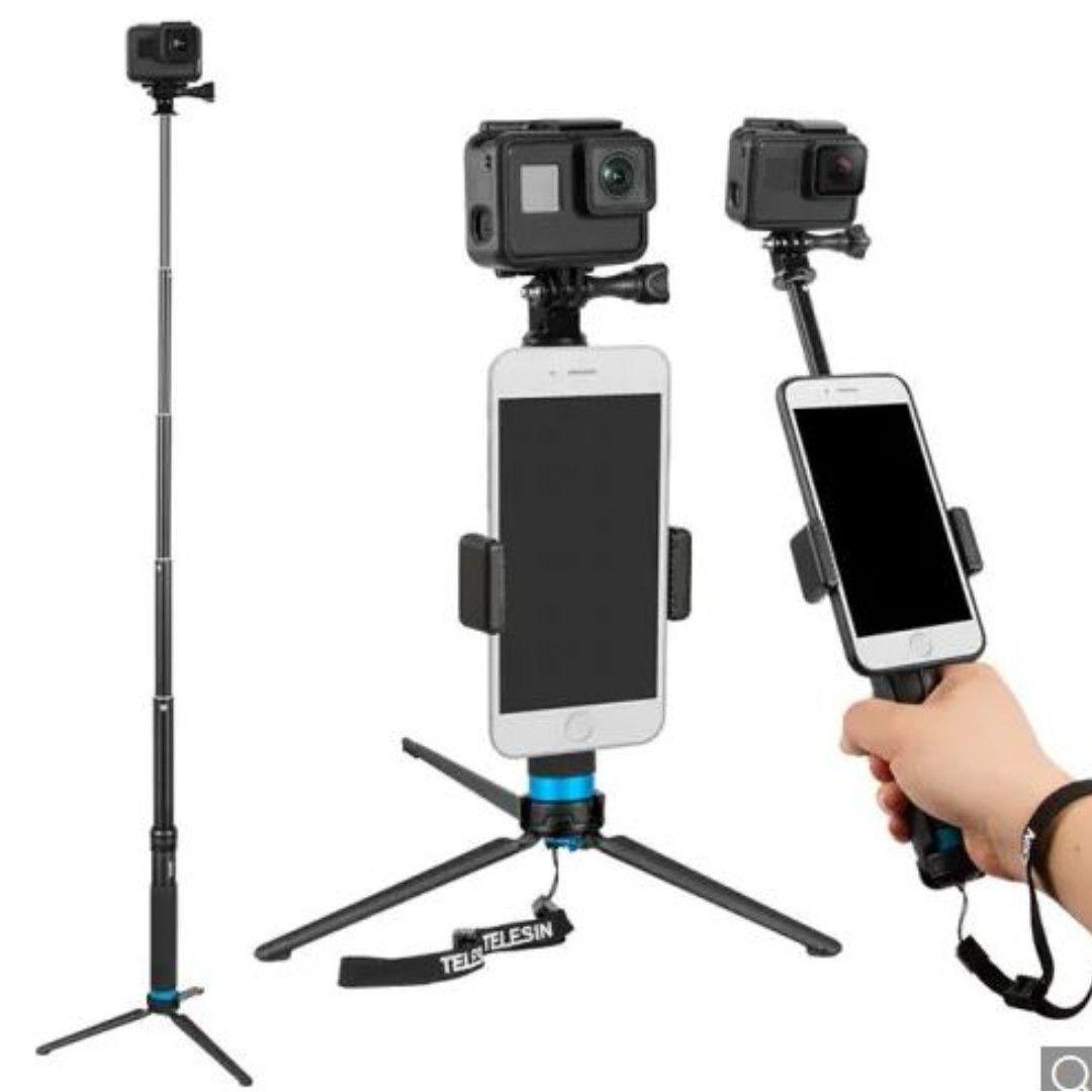 Bastao Tripe Selfie Telesin Monopod em Aluminio para GoPro, Sjcam e celular