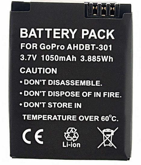 Bateria Ahdbt-301 1050mah para Câmeras GoPro Hero 3, 3+