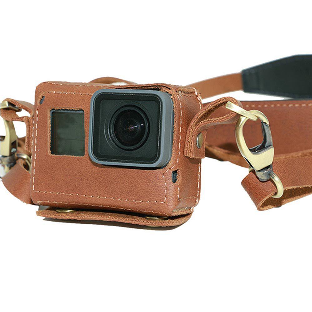 Bolsa Capa Case Protetora em Couro Artesanal para GoPro 5/6/7