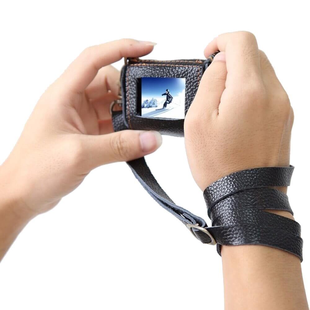 Bolsa Case em Couro Preto + Filtro UV 52mm para GoPro 5/6/7