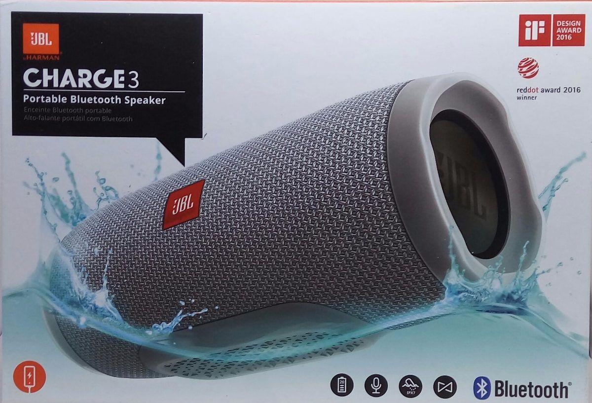 Caixa de Som JBL Charge3 Bluetooth Speaker - Cinza