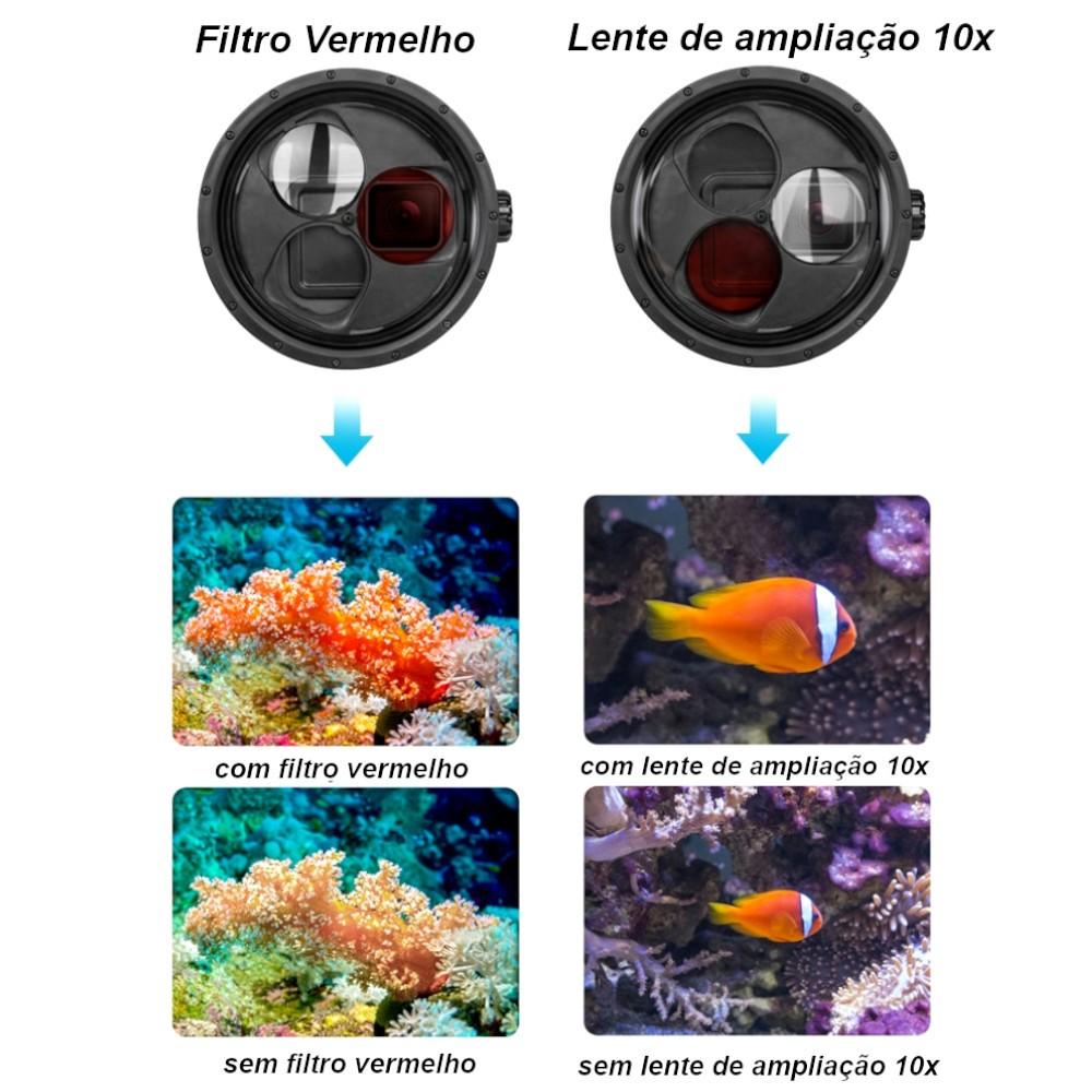 Caixa estanque GoPro 5/6/7 Black + Lupa 10x + filtro de mergulho vermelho