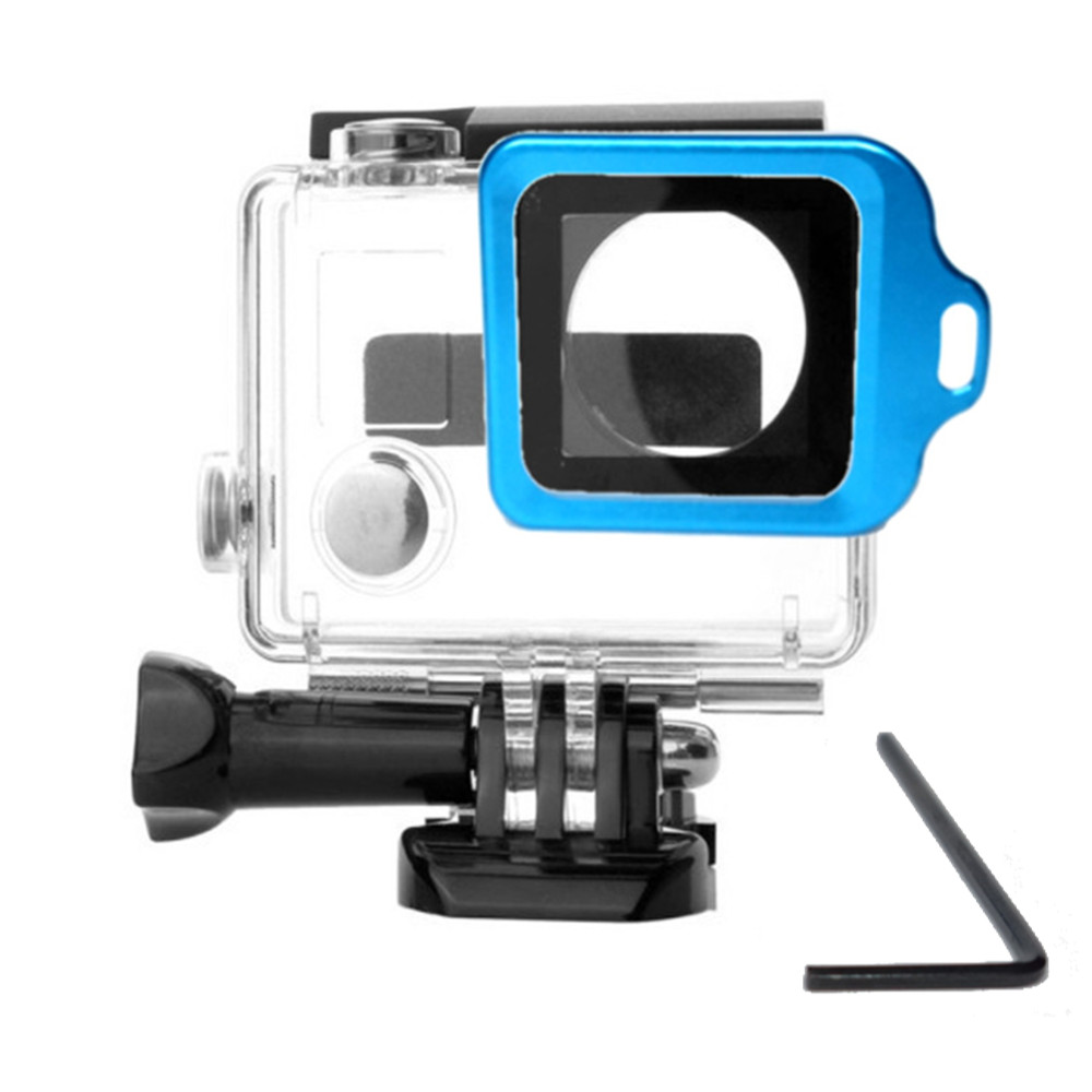 Caixa estanque para GoPro 3+/4 + Anel Aluminio azul