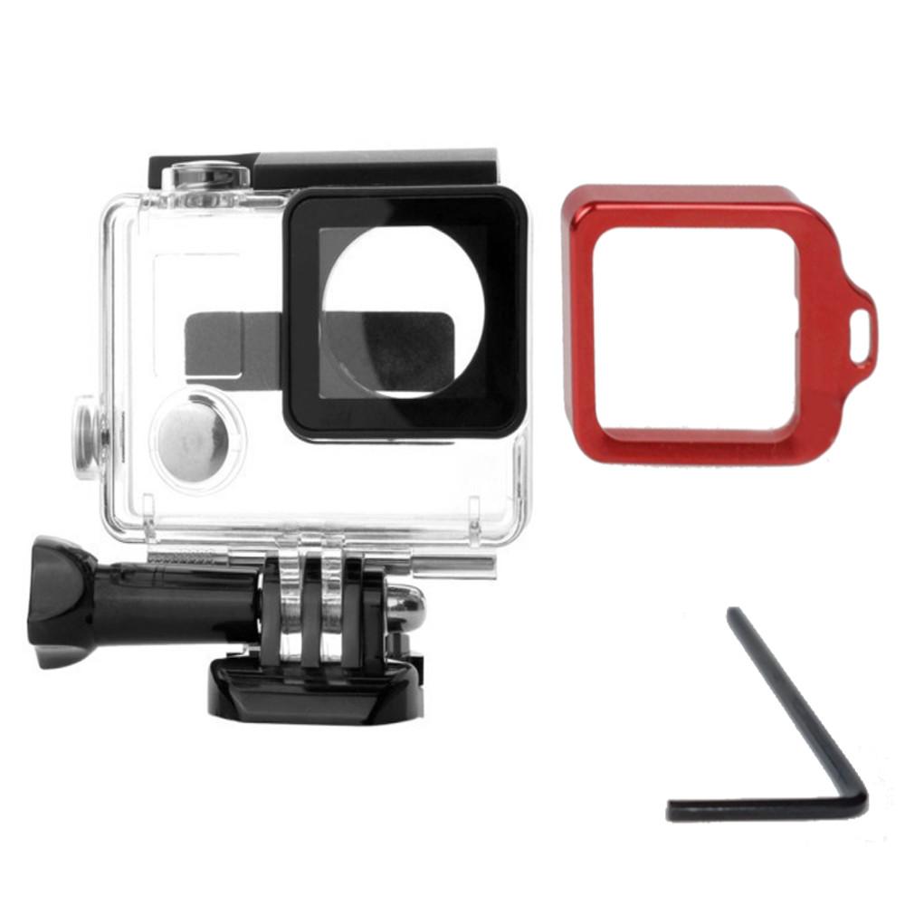 Caixa estanque para GoPro 3+/4 + Anel Aluminio Vermelho