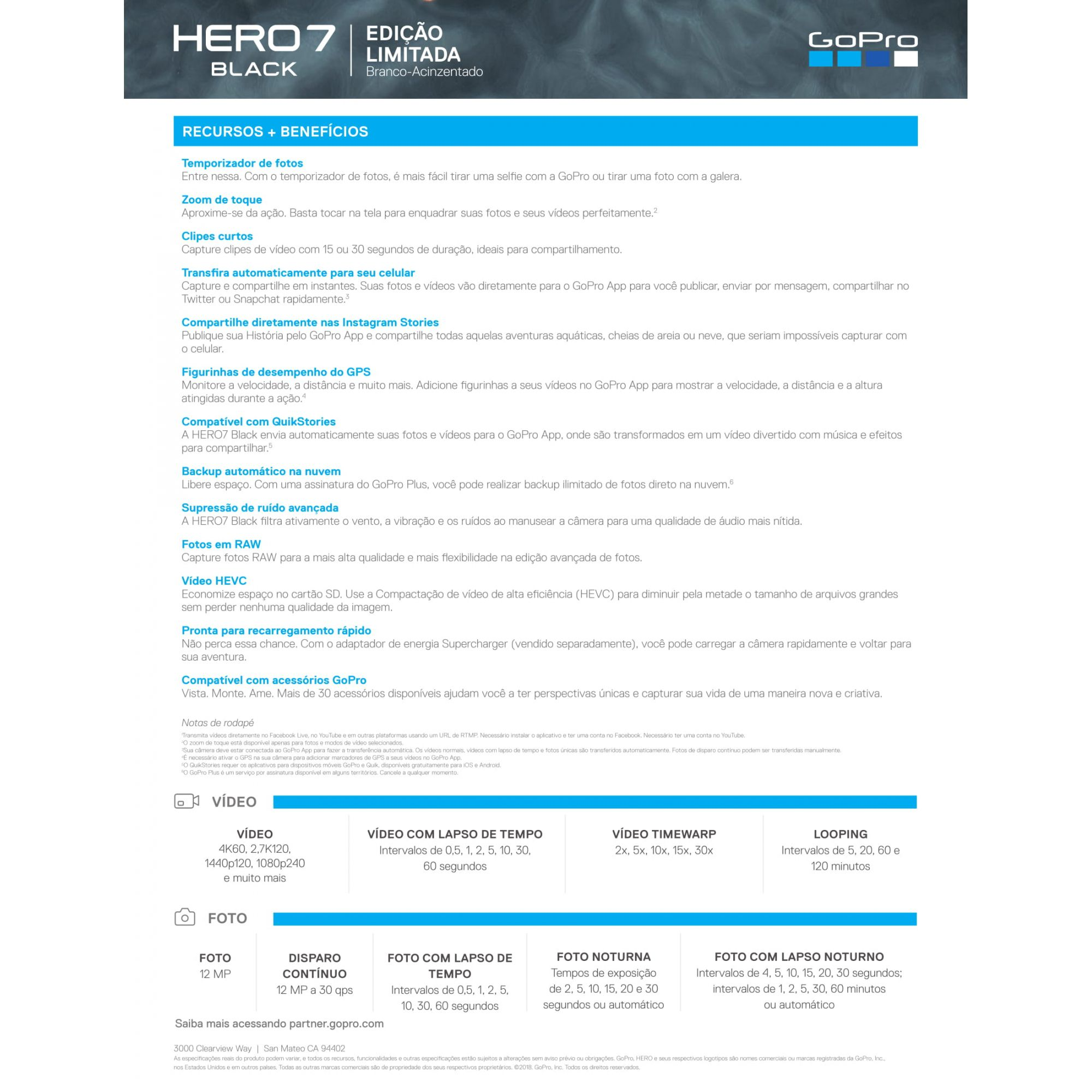 Câmera de Ação GoPro Hero 7 Black Edição Limitada - BRANCA.