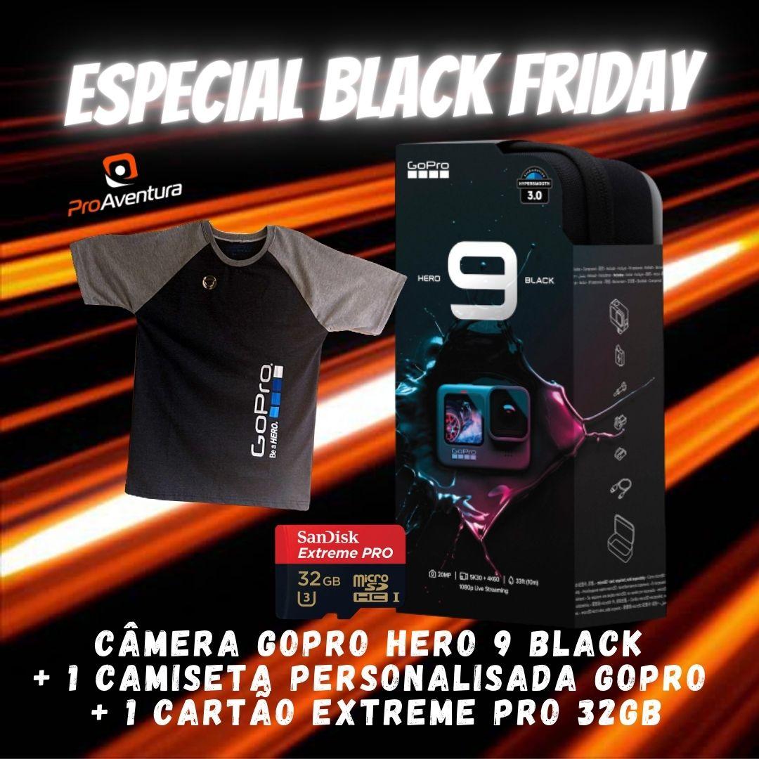 Câmera GoPro Hero 9 Black + Camiseta GoPro + Cartão Extreme Pro 32 GB - Especial Black Friday