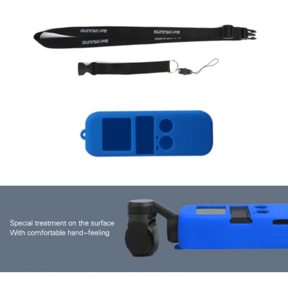 Capa Case em Silicone Azul + Cordão para Dji Osmo Pocket