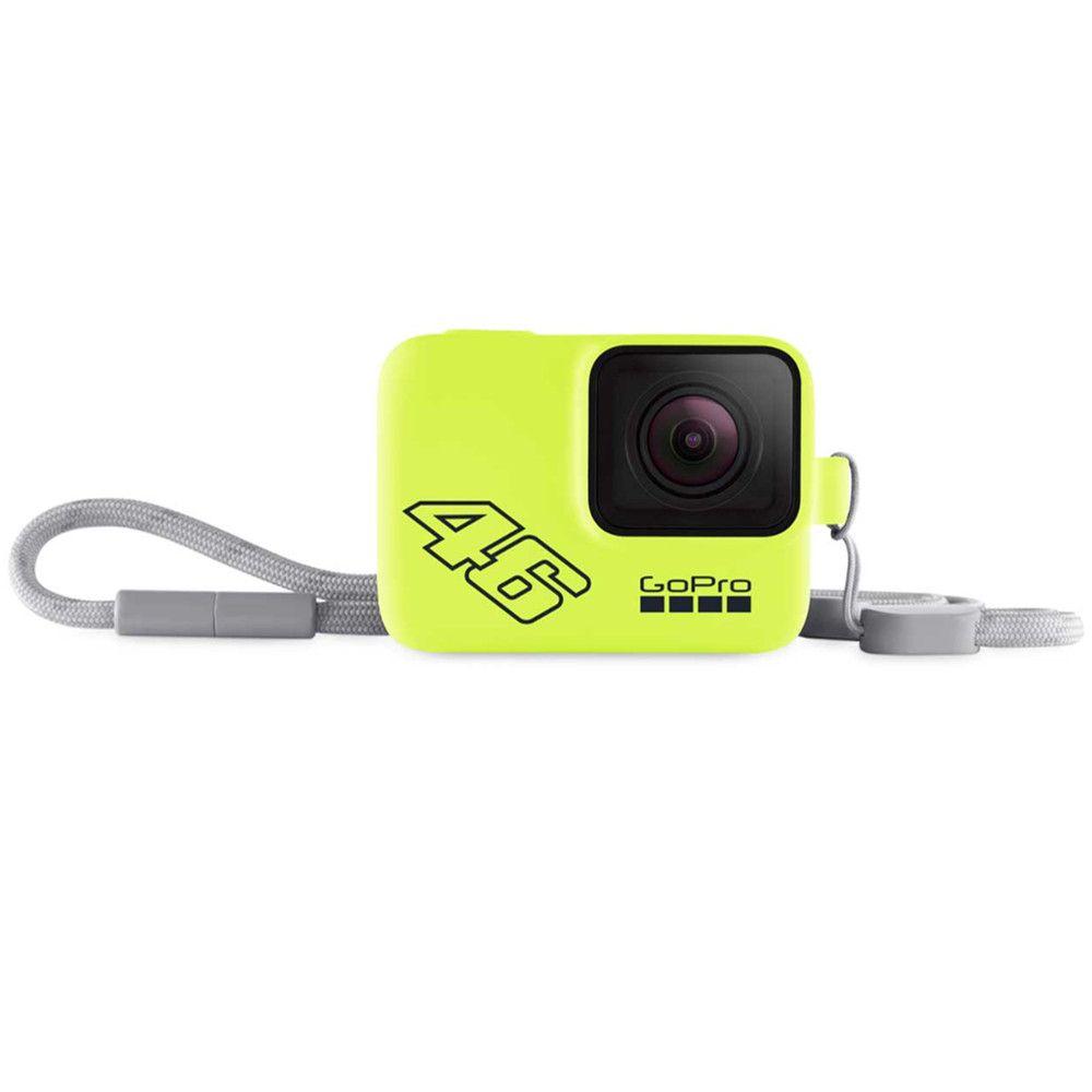 Capa de Silicone + Cordão Sleeve Amarelo Neon-Valentino Rossi Original GoPro Hero 5-7